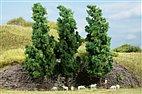 70940 Auhagen - 3 Laubbäume dunkelgrün, 15 cm