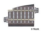 Tillig 83721 - TT - Bettungsgleis, Pass-Stück 5k ger. Gleis 36 mm rechts